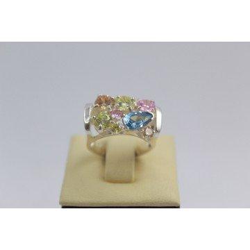 Сребърен пръстен с цветни камъни 3000