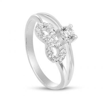 Сребърен пръстен с безкрайност и бели камъни 3000