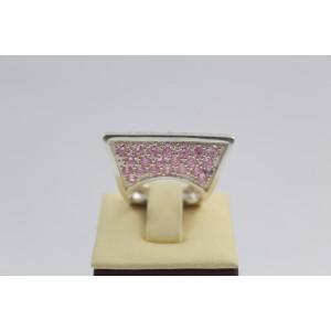 РАЗПРОДАЖБА -30% Сребърен пръстен с розови камъни 3002
