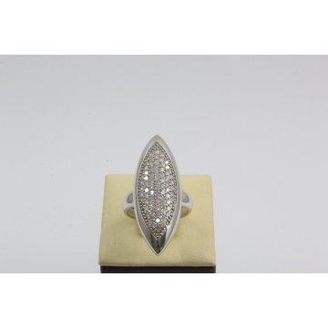 Дамски сребърен родиран пръстен с бели камъни 3003
