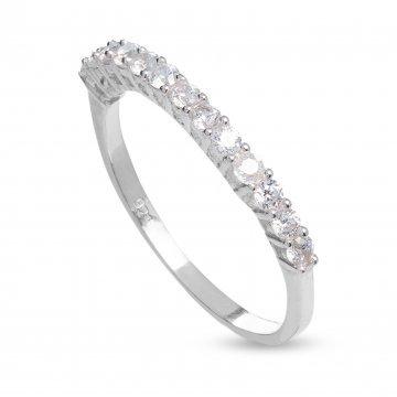 Дамски сребърен пръстен с бели камъни 3003