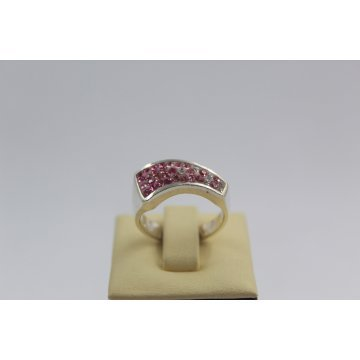 Дамски сребърен пръстен с розови камъни 3004