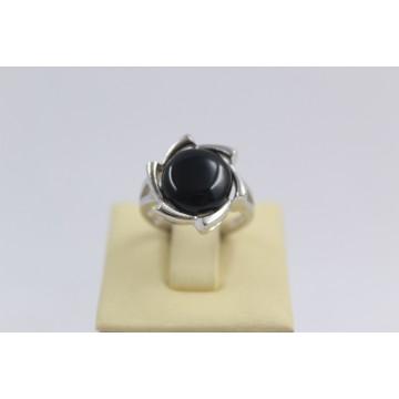 Дамски сребърен пръстен с черен камък 3008