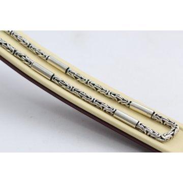 Дамско сребърно колие кралска плетка тъмно сребро 3303