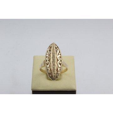 Златен дамски пръстен Бадем Голям жълто злато 3074