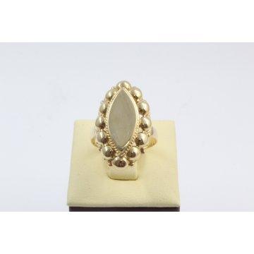 Златен дамски пръстен Бадем Ретро жълто злато 3075