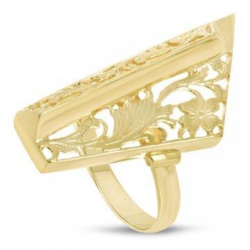 Златен дамски ретро пръстен Пиано Голямо жълто злато 3078
