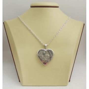 Сребърен отварящ се медальон за снимки сърце 3089