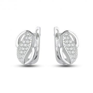 Дамски сребърни обеци с камъни 3091