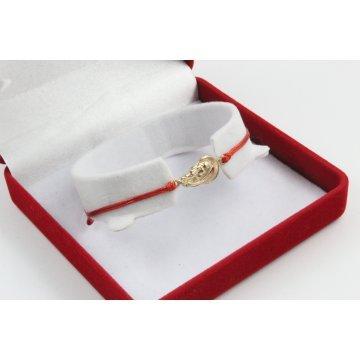 Златна регулираща се гривна с червен конец и богородица 3113