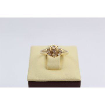 Златен женски пръстен с бели камъни жълто злато 3116