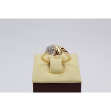 Златен дамски годежен пръстен жълто злато бял камък 3119