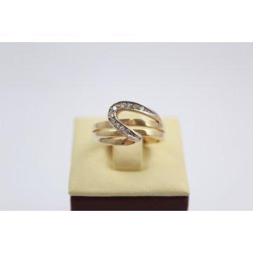 Златен женски пръстен жълто и бяло злато и бели камъни 3123