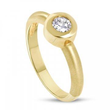 Златен женски пръстен жълто злато и бял камък 3123