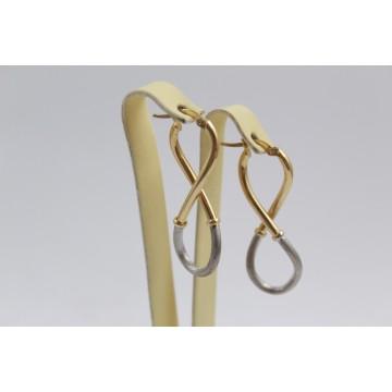 Златни женски обеци осмици бяло и жълто злато 3124