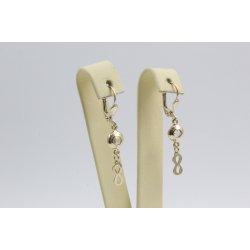 Златни женски обеци безкрайности жълто злато бели камъни 3124