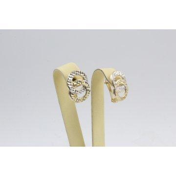 Златни женски обеци безкрайности жълто бяло злато 3124