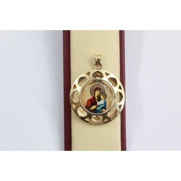 Златен дамски медальон богородица жълто злато 3133