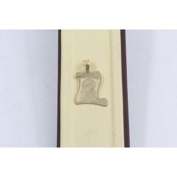 Златен дамски медальон богородица жълто злато 3135