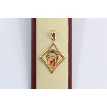 Златен дамски медальон богородица 3136