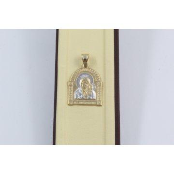 Златен дамски медальон богородица бяло жълто злато 3136