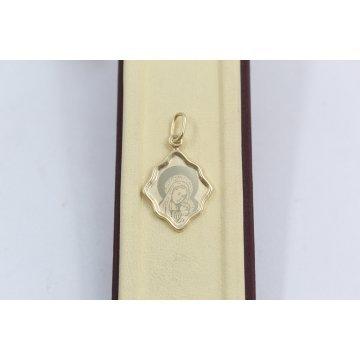 Златен дамски медальон богородица жълто злато 3136