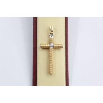 Златен дамски медальон кръст бяло жълто злато 3137