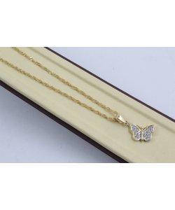 Златно дамско колие с пеперуда с бели камъни 3142