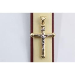 Златен женски кръст с разпятие жълто и бяло злато 3147