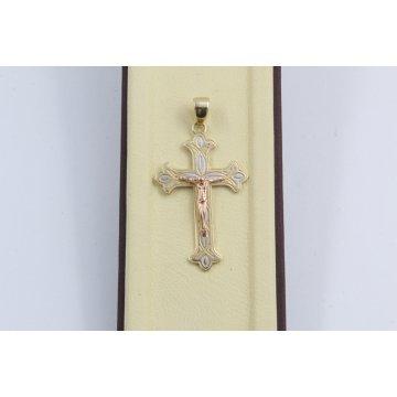 Златен женски кръст с разпятие жълто розово бяло злато 3147