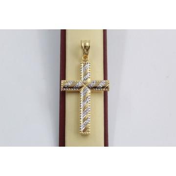 Златен женски кръст жълто и бяло злато 3148