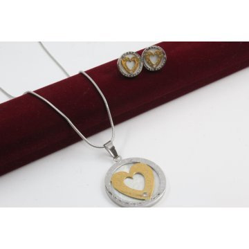 Дамски стоманен комплект жълта и бяла стомана обеци медальон 3198