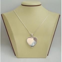 Сребърен отварящ се медальон за снимкa - сърце 3252