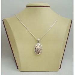 Сребърен отварящ се медальон за снимкa - елипса гравирана 3254