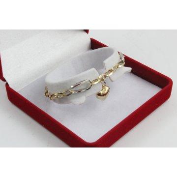 Златна женска гривна жълто и бяло злато висящо сърце 3266
