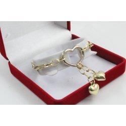 Златна женска гривна жълто и бяло злато висящи сърца 3266