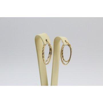 Златни женски обеци халки усукани жълто злато 3267