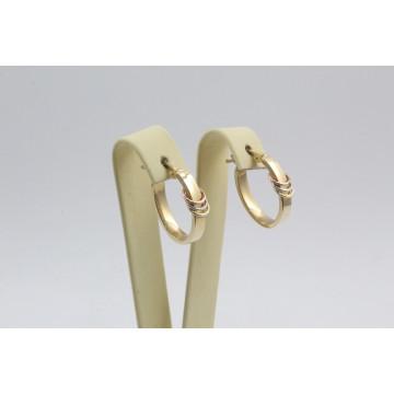 Златни женски обеци халки три цвята злато 3271
