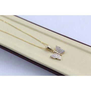 Златно дамско колие с пеперуда жълто злато бели камъни 3294