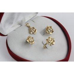 Дамски златен комплект Рози пръстен обеци медальон 3314