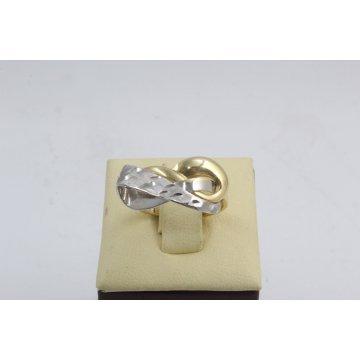 Златен дамски пръстен бяло и жълто злато 3318
