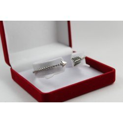 Дамска сребърна твърда гривна от тъмно сребро стрела 3330