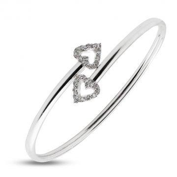 Дамска сребърна твърда гривна с бели камъни 3330