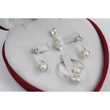 Дамски сребърен комплект със синтетични бели перли 3331