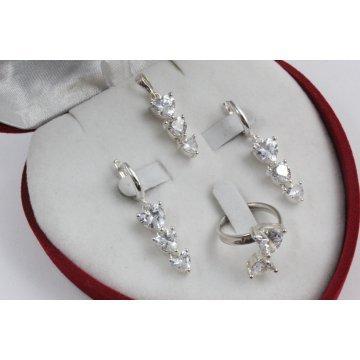 Дамски сребърен комплект обеци пръстен медальон 3336