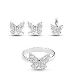 Дамски сребърен комплект с бели камъни Пеперуда обеци пръстен медальон 3338