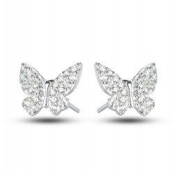Дамски сребърни обеци Пеперуди с бели камъни 3637