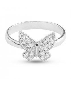 Дамски сребърен пръстен с пеперуда и бели камъни 3002