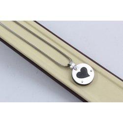Дамско златно колие със сърце бяло злато и черен силикон 3345