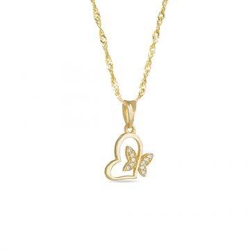 Дамско златно колие със сърце и пеперуда жълто злато 3350